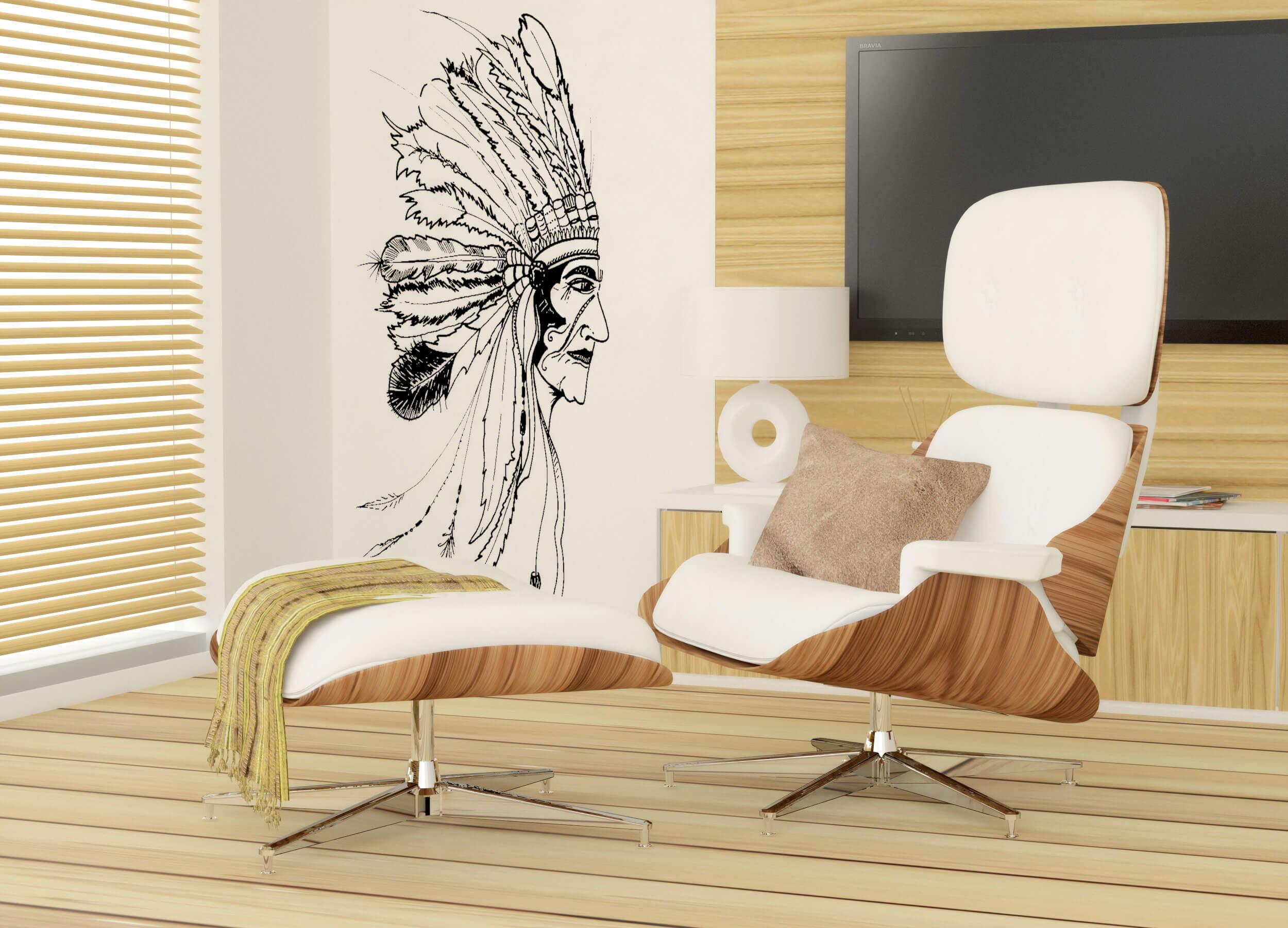 projekt salonu_fotel_grafika na ścianie